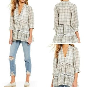 Free People Time Out Plaid Crochet Detail Tunic